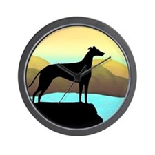 greyhound by the sea Wall Clock