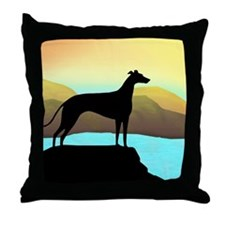 greyhound by the sea Throw Pillow