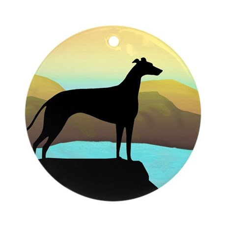 greyhound by the sea Ornament (Round)