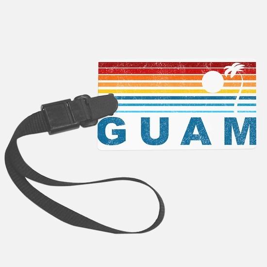 Retro Palm Tree Guam Luggage Tag