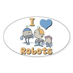 I Heart (love) Robots Oval Decal