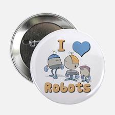 """I Heart (love) Robots 2.25"""" Button (10 pack)"""