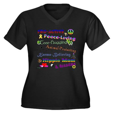 HippieGrandma Women's Plus Size V-Neck Dark T-Shir