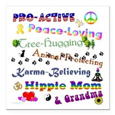 "HippieGrandma Square Car Magnet 3"" x 3"""