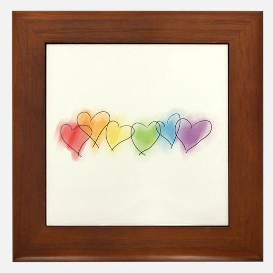 Rainbow Hearts Framed Tile