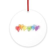 Rainbow Hearts Ornament (Round)