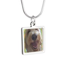 Dreamy Dog 2 Silver Square Necklace