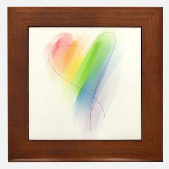 Rainbow Heart Framed Tile