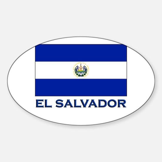 El Salvador Flag Gear Oval Decal