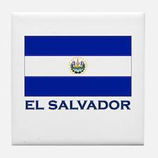 El Salvador Flag Gear Tile Coaster