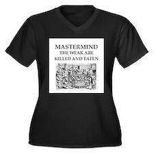mastermind Women's Plus Size V-Neck Dark T-Shirt