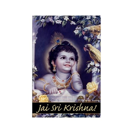 Krishna & Parrots Rectangle Magnet