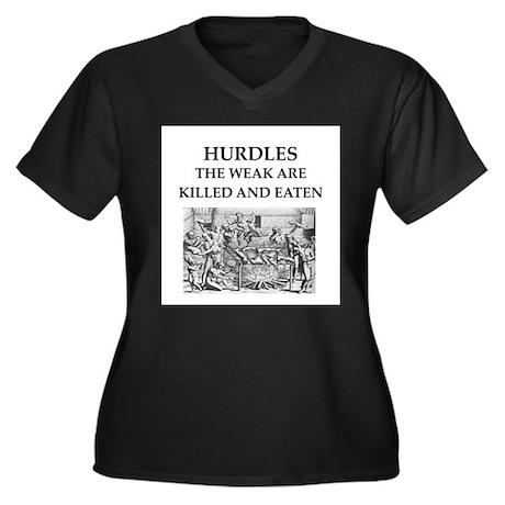 hurdles Women's Plus Size V-Neck Dark T-Shirt