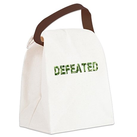 Defeated, Vintage Camo, Canvas Lunch Bag