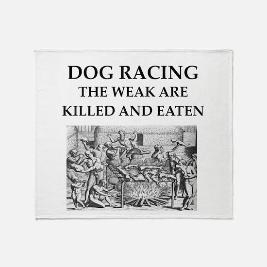 dog racing Throw Blanket