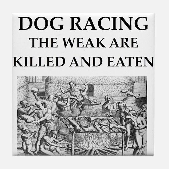dog racing Tile Coaster