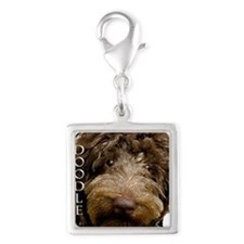Chocolate Doodle Silver Square Charm