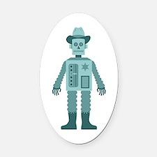 Cowboy Robot Oval Car Magnet