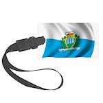 Wavy San Marino Flag Large Luggage Tag