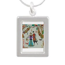 Russian Village in Winter Silver Portrait Necklace