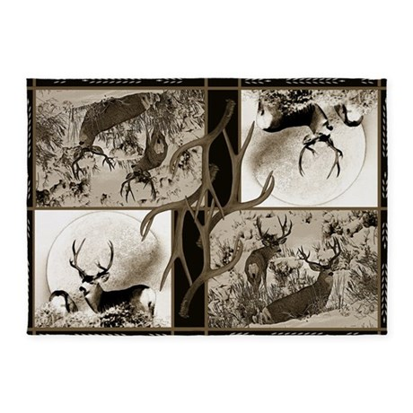 Rustic Mule Deer 5 X7 Area Rug By Saltypro Shop
