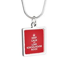 K C Love Schoolhouse Rock Silver Square Necklace