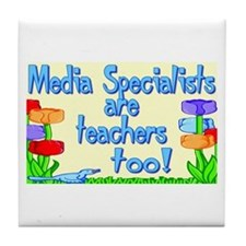 Media Specialists Flowers Tile Coaster