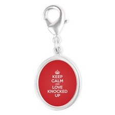 K C Love Knocked Up Silver Oval Charm