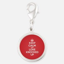 K C Love Knocked Up Silver Round Charm