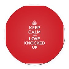 K C Love Knocked Up Round Car Magnet