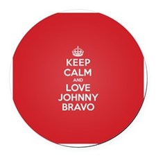 K C Love Johnny Bravo Round Car Magnet