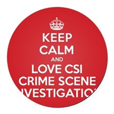 K C Love CSI Round Car Magnet