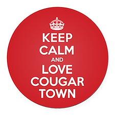 K C Love Cougar Town Round Car Magnet