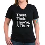ThereTheirTheyreThurr Women's V-Neck Dark T-Shirt