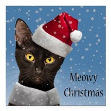 "Christmas Cat 3 Square Car Magnet 3"" X 3&quot"