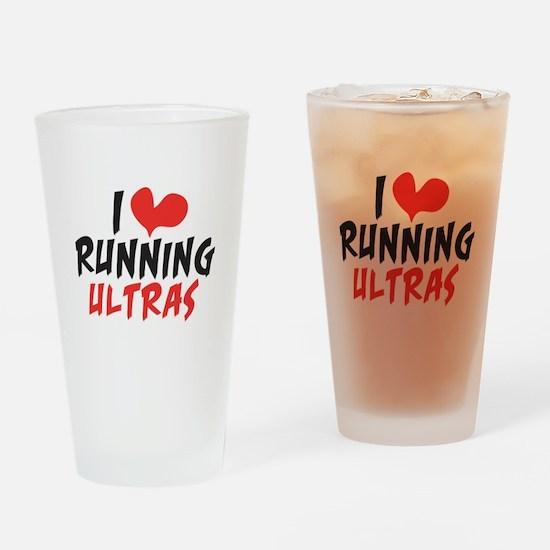 I heart Running Ultras Drinking Glass