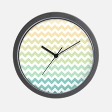 Chevron Stripes - Yellow, Green, Blue Wall Clock