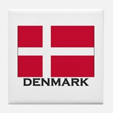 Denmark Flag Gear Tile Coaster