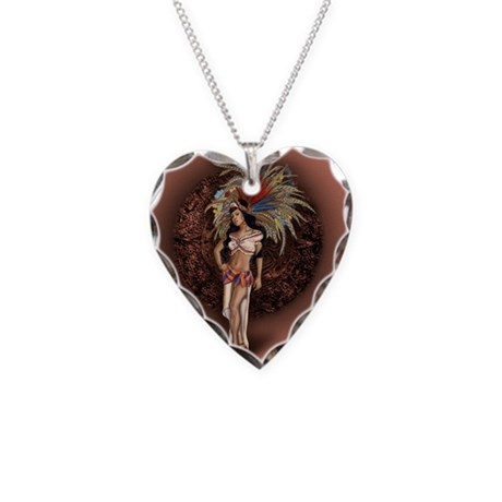 Aztec Princess Pin-Up Necklace Heart Charm