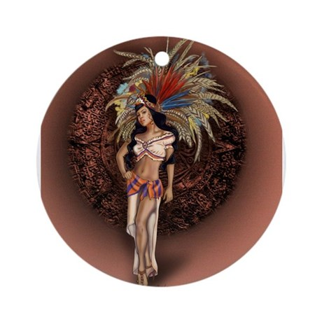 Aztec Princess Pin-Up Ornament (Round)