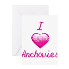 I Love/Heart Anchovies Greeting Card