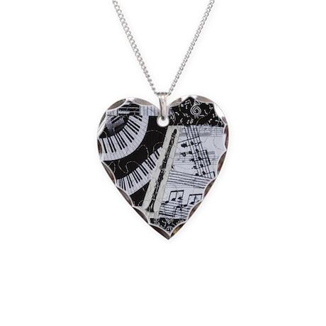Clarinet Necklace Heart Charm