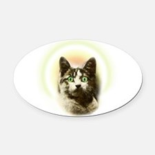 God Cat Oval Car Magnet
