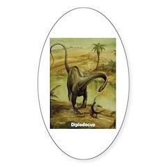 Diplodocus Dinosaur Oval Sticker