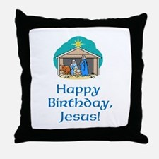 Happy Birthday Jesus Throw Pillow