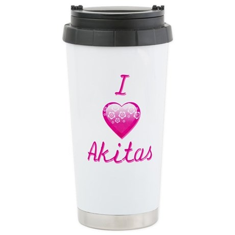 I Love/Heart Akitas Stainless Steel Travel Mug