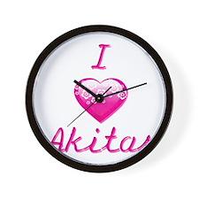 I Love/Heart Akitas Wall Clock