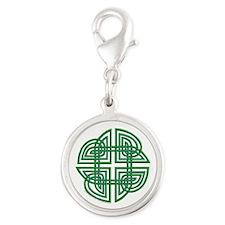 Celtic Four Leaf Clover Silver Round Charm