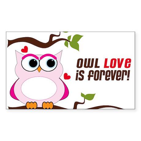 Owl Love Is Forever Sticker (Rectangle)