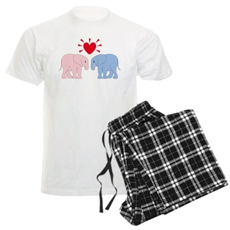 Valentine Elephants Men's Light Pajamas